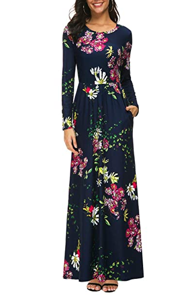 8788d91dc4777 Zattcas Womens Long Sleeve Maxi Dress Floral Print Casual Long Dresses with  Pockets … (Small