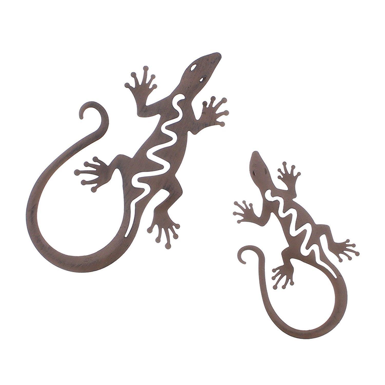 Metall-Deko Gecko, 2er Set Metall-Deko Gecko Frank Flechtwaren