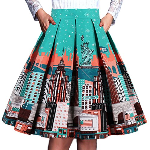 T-Crossworld Women's Vintage A-line Printed Pleated Flared Midi Skirts with Pockets New York XSmall (York Pleated Skirt New)