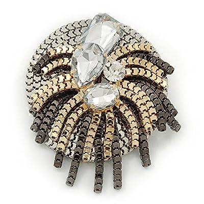 Discount Stunning Clear Crystal 'Star' Brooch In Silver/Gold/Gun Metal - 5.5cm Diameter supplier