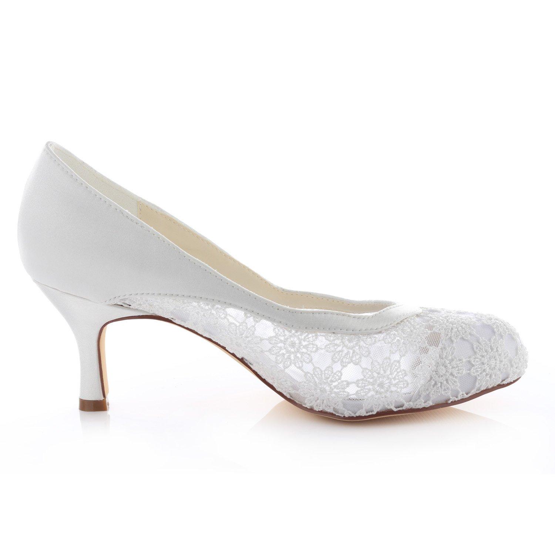 Emily Bridal Spitze Spitze Spitze Hochzeit Schuhe Round Toe Elegante High Heel Brautschuhe 3ce71d