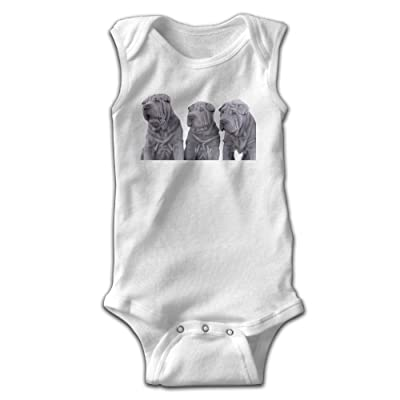 Address Verb Shar Pei Dogs Baby Sleeveless Bodysuits Unisex Cute Lap Shoulder Onesies