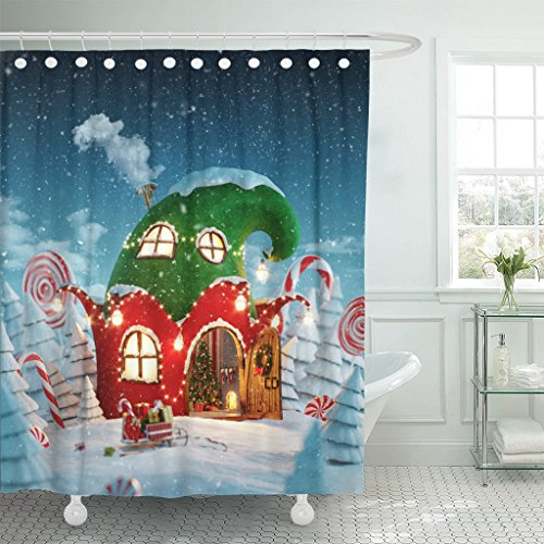 TOMPOP Shower Curtain Amazing Fairy House Decorated at Christmas in Shape of Elfs Hat with Opened Door and Fireplace Inside Waterproof Polyester Fabric 60 x 72 Inches Set with Hooks by TOMPOP