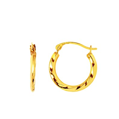 Amazon Com Mcs Jewelry 14 Karat Yellow Gold Small Hoop Earrings For