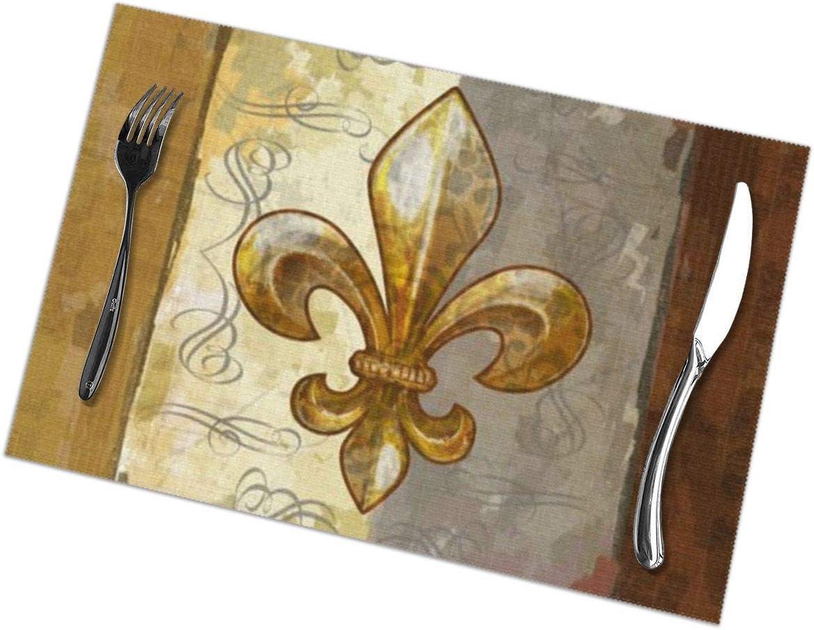 Allgobee Placemats Set of 6 Heat-Resistant Placemats Stain Resistant Anti-Skid Washable Fleur De Lis Retro Table Mats