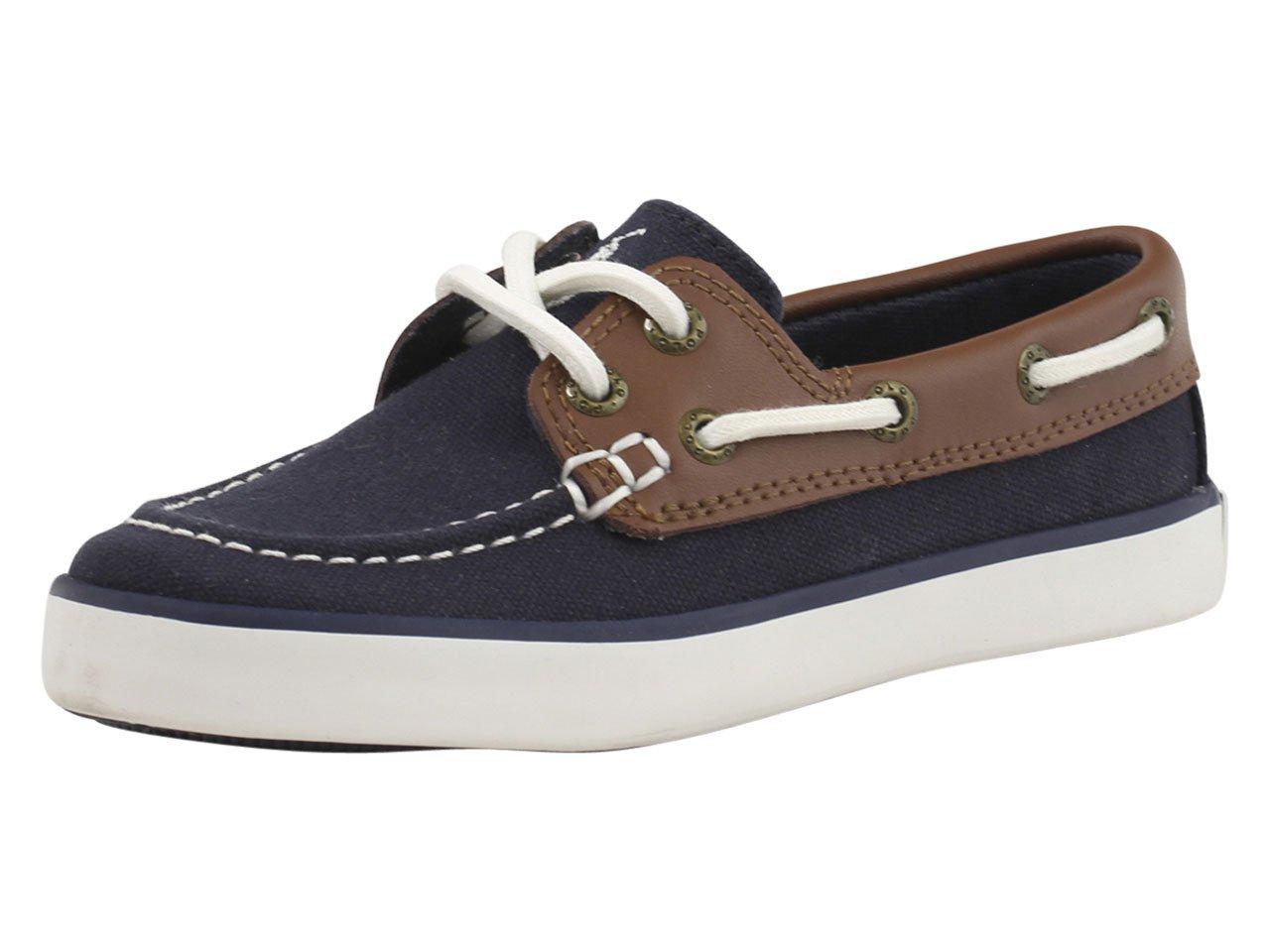 Polo Ralph Lauren Kids Sander-CL Sneaker (Toddler/Little Kid/Big Kid),Navy/Tan,5 M US Big Kid