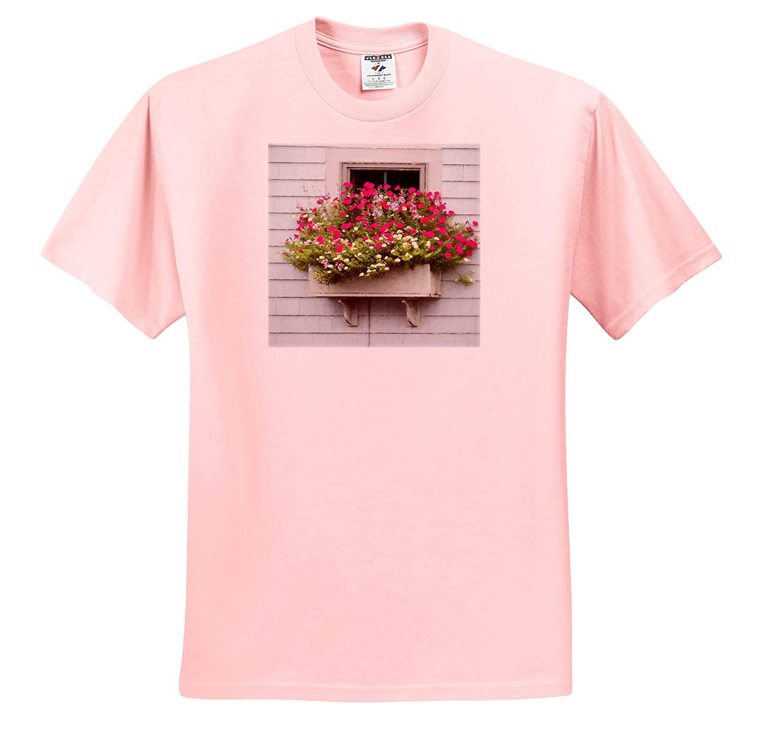 T-Shirts 3dRose Roni Chastain Photography Pink fowers by The Window