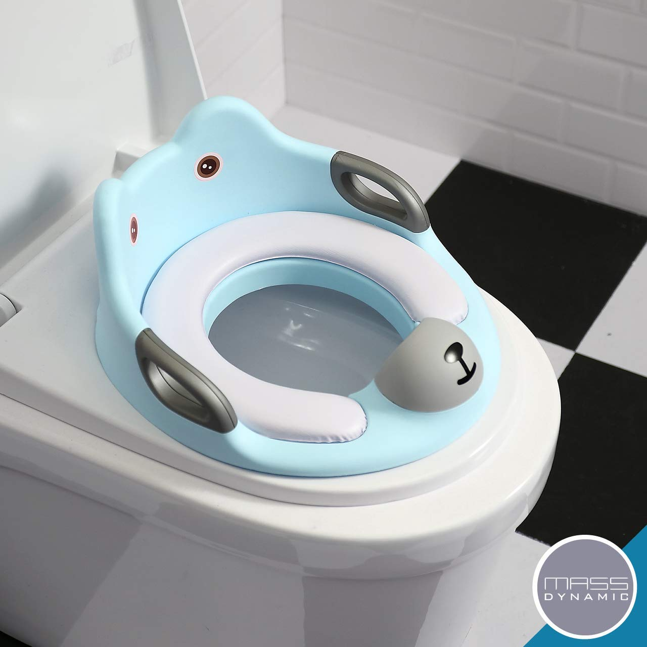 Anti Slipping Baby Seat with Handles White Potty Training Toilet Seat for Kids Toilet Trainer Ring for Boys or Girls