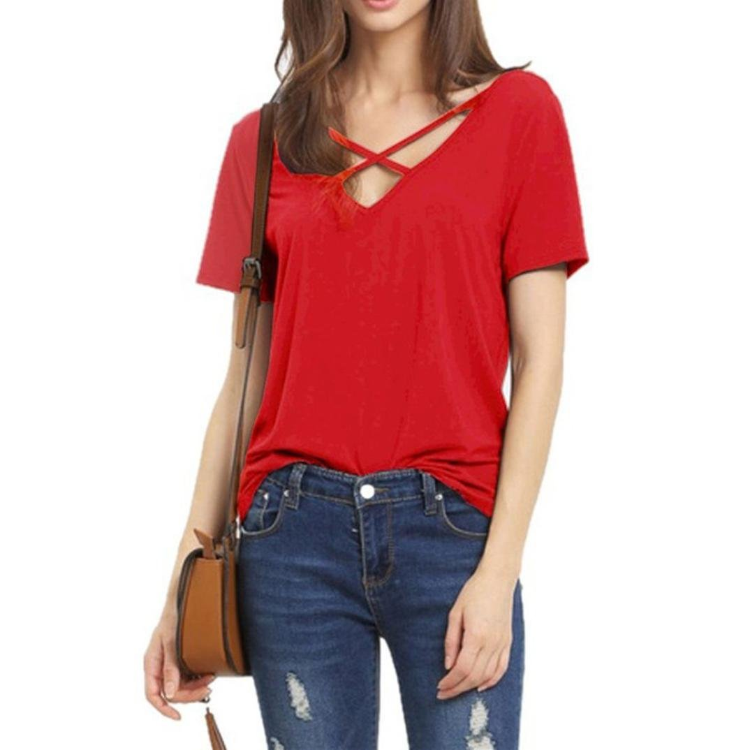ac535efdac4ace ARINLA 2018 Discount Popular Summer Front Tops V Neck Blouse Girls T Shirt  at Amazon Women s Clothing store