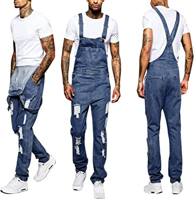 Juesi Women/'s Casual Denim Bib Cropped Overalls Pant Jumpsuits with Holes in Their Straps Straightforward Tight Calf Jeans
