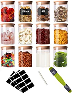 Glass Food Storage Jars Set of 12, 6oz Glass Spice Jars with Airtight Bamboo Lids, Labels, Chalk Marker and Measuring Spoon, Small Food Storage Containers for Home Kitchen Tea Herbs Salt Coffee Grains