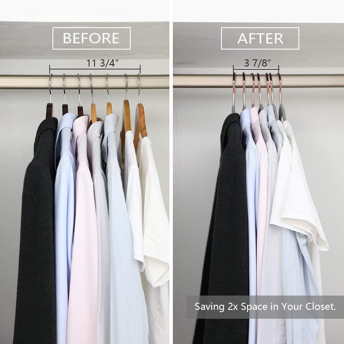 VECELO Premium Velvet Suit-Hangers Pack of 50 Heavy Duty Non Slip Space-Saving with Tie Rack and Finger Clips Pink