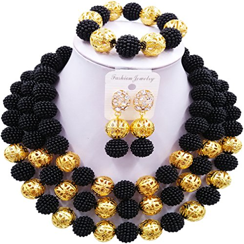 Black And White Costume Jewellery (laanc Womens Fashion Gold Plated 3 Rows Nigerian Beads African Wedding Bridal Jewelry Sets (Black))