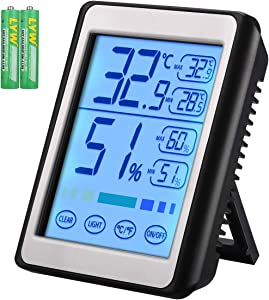 Brifit Indoor Thermometer with Humidity Monitor, Digital Hygrometer, Accurate Temperature Indicator with Touch LCD Backlight, Humidity Gauge Meter for Home, Office (Battery Included)
