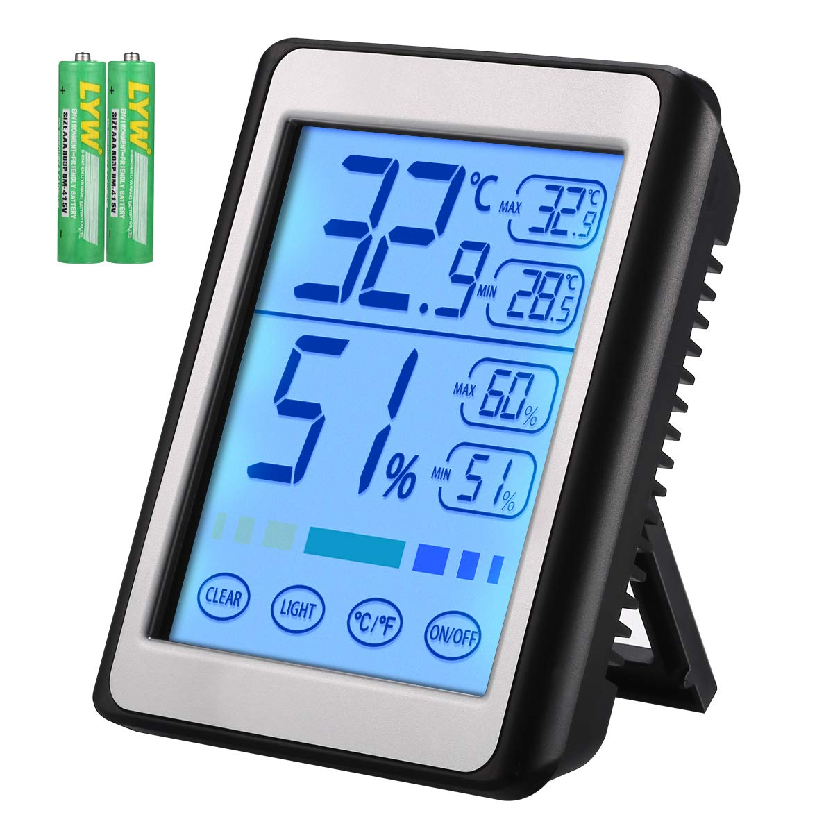 Brifit Indoor Thermometer with Humidity Monitor, Digital Hygrometer, Accurate Temperature Indicator with Touch LCD Backlight, Humidity Gauge Meter for Home, Office (Battery Included) by AMIR