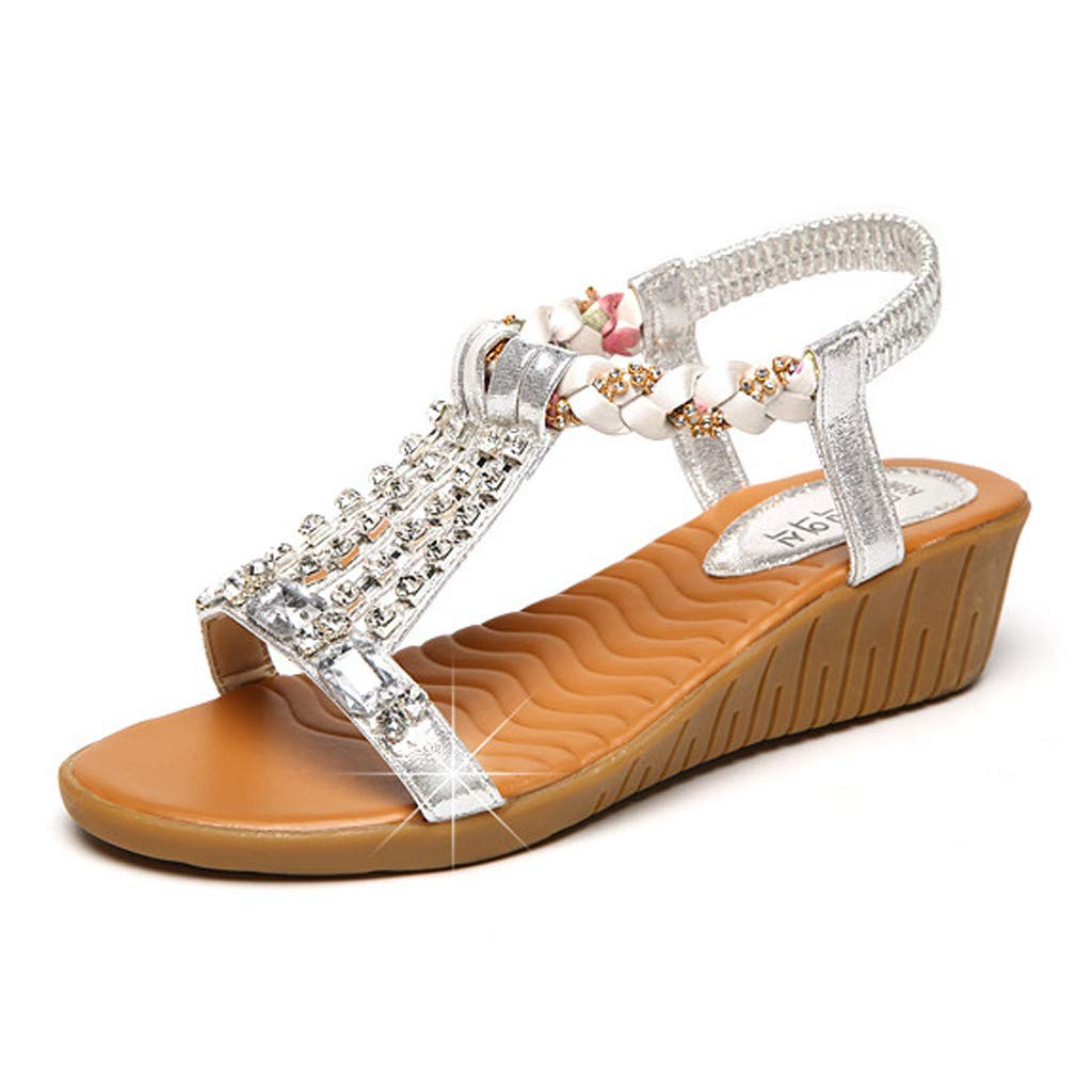 Womens Aditi Low Wedge Dress Sandals Ladies Summer Crystal Bling Wedges Bohemia Beach Roman Sandals