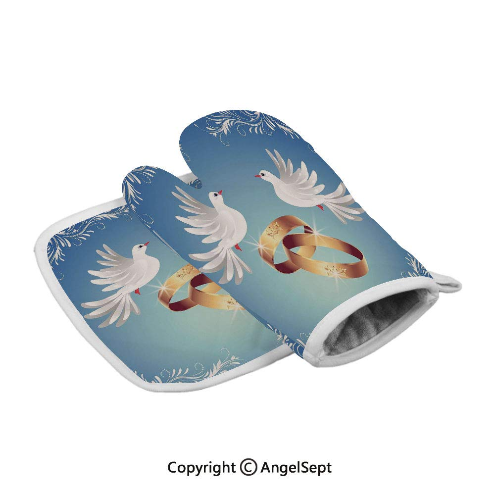 Card Inspired with Floral Ornaments Two White Birds Rings,Insulated Gloves+Insulated Square Mat,Blue Gold White,Baking Premium Insulated Durable Mitts