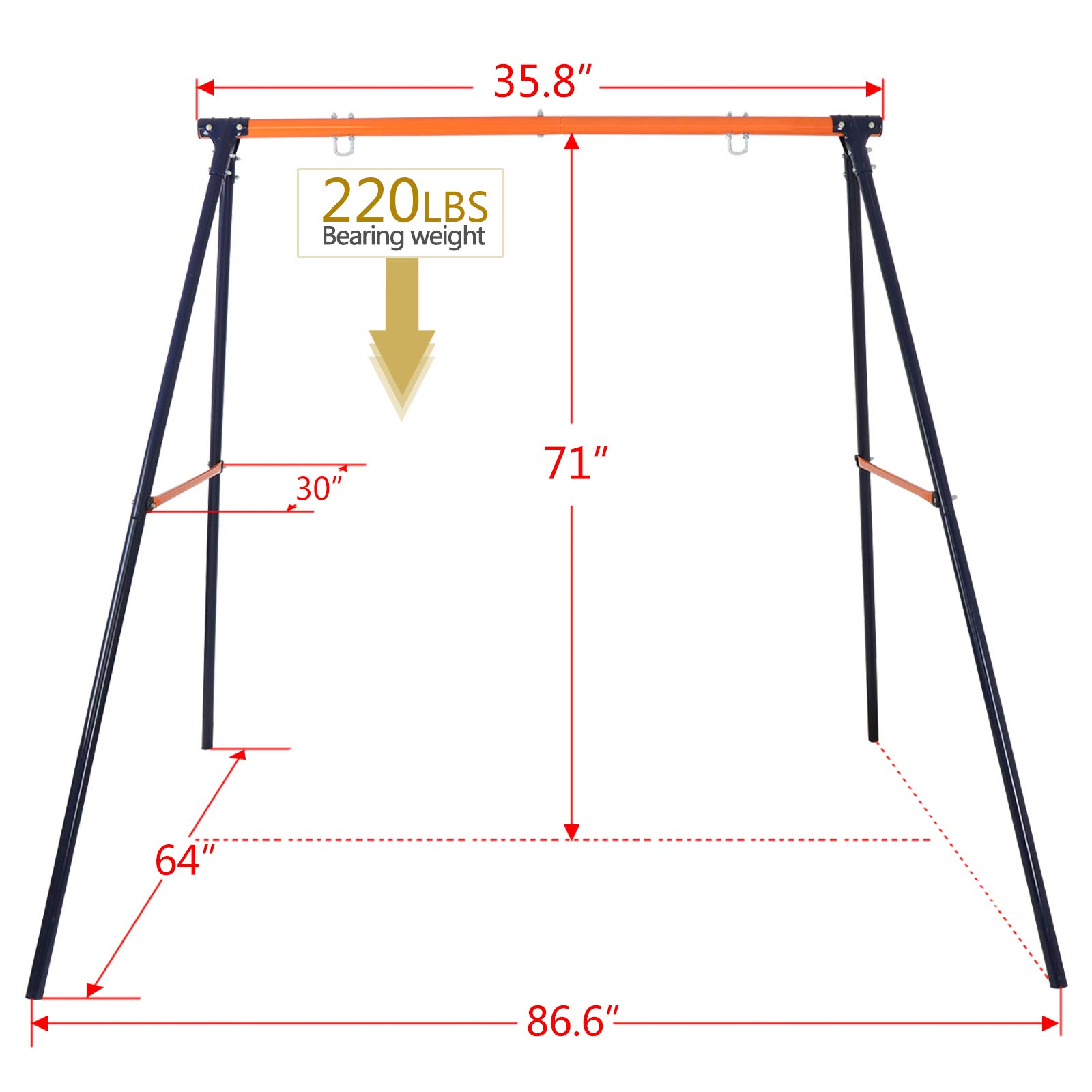 ZENY Swing Set - 24'' Spinner Web Tree Swing Nylon Rope + All Weather Steel A Swing Frame Stand,Great for Backyard Kids Play Fun by ZENY (Image #5)