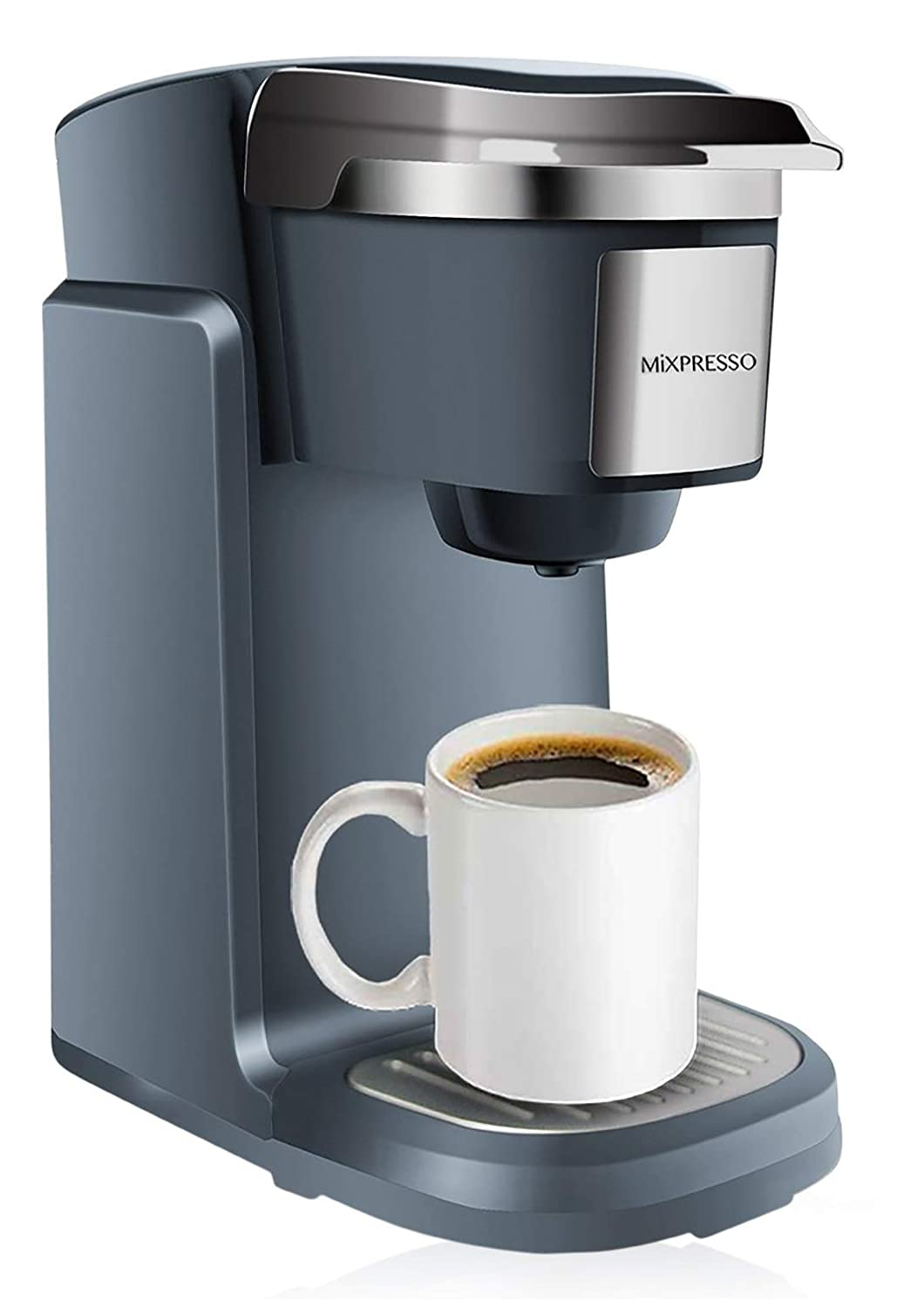 Mixpresso - Single Serve K-Cup Coffee Maker | Compatible With 1.0 & 2.0 K-Cup Pods | Removable 45oz Water Tank | Quick Brewing with Auto Shut-Off | One Touch Function (Dark/Grey)