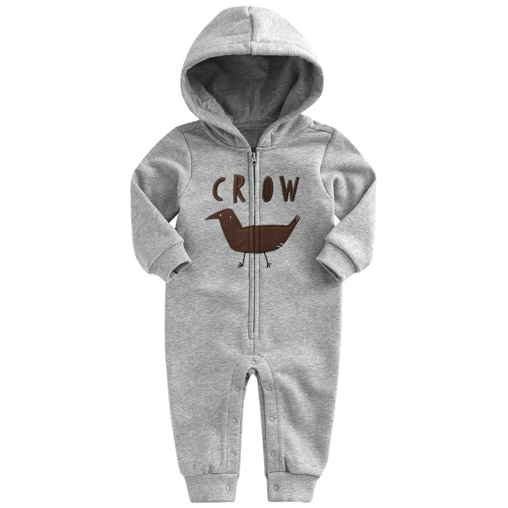 Vine Hooded Romper for Baby Newborn Cotton Long Sleeve Bodysuits Zipper Front Outfits
