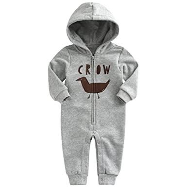 7d4604a37 Vine Baby Hooded Romper Cotton Jumpsuit Long Sleeve Onesie Zippered ...