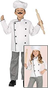 Amakando Divertido Disfraz Infantil Chef / Blanco-Negro 7 - 9 años ...