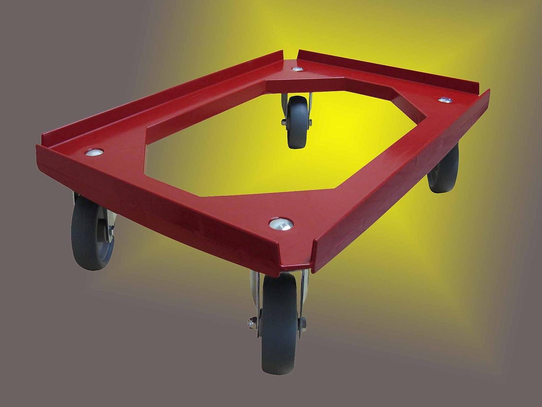 Rollwagen 600x400 mm 111908998014 4er Set Transportroller graue Gummir/äder Kistenroller rot