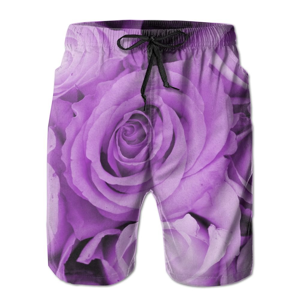 Zzwfi Purple Roses In A Wedding Arrangement Summer Quick Dry Board/Beach Shorts For Men XL
