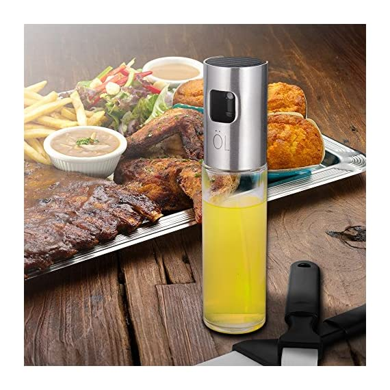 Olive Oil Sprayer for Cooking, Oil Spray Bottle Oil Dispenser Vinegar Bottle with 2 Bonus BBQ Oil Brushes for Kitchen Baking, Salad, Roasting, Frying and Barbecue Grills by MAYBEST 5