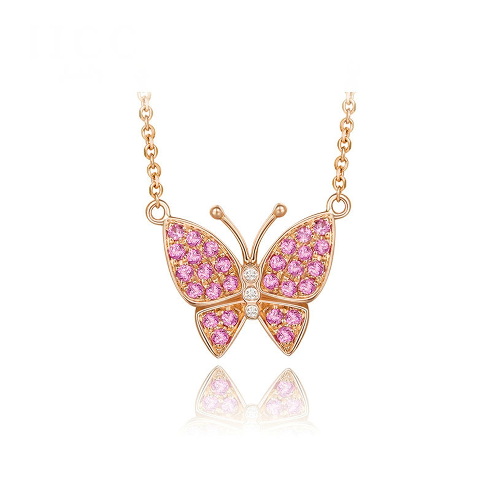 Daesar 18K Gold Necklace For Women Butterfly Pendant Cubic Zirconia Necklace Rose Gold Chain Length:40CM