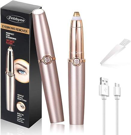 Depiladora de Cejas, Eléctrica Depiladora Facial Mujer, Recortador de Vello Nariz/Orejas, Luz LED Incorporada, USB Recargable, Eyebrows Trimmer