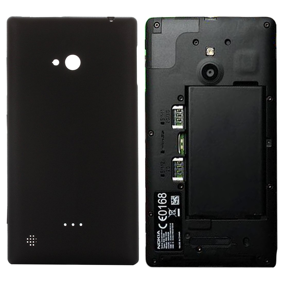 JUNXI Phone Back Cover for Nokia Lumia 720 (Black) Easy Install Tray (Color : Black) by JUNXI