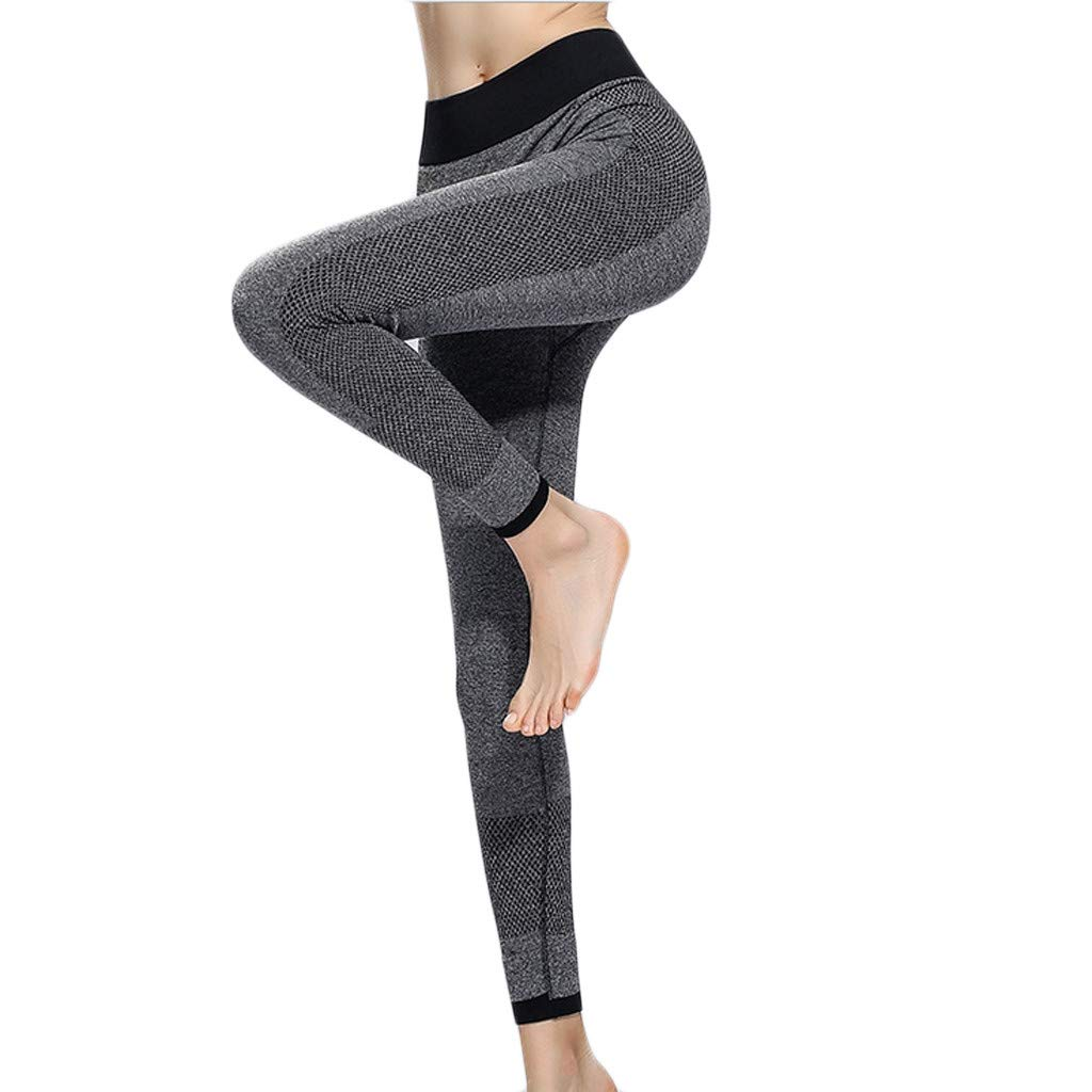 Sunyastor High Waist Yoga for Women Lightweight Leggings Running Gym Yoga Athletic Pants Tummy Control Compression Pant Gray by Sunyastor women pants (Image #1)