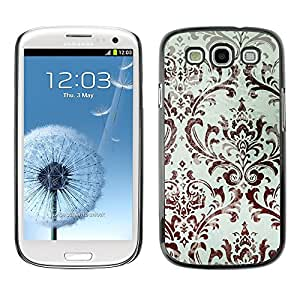 LECELL--Funda protectora / Cubierta / Piel For Samsung Galaxy S3 I9300 -- Wallpaper White Brown Floral --