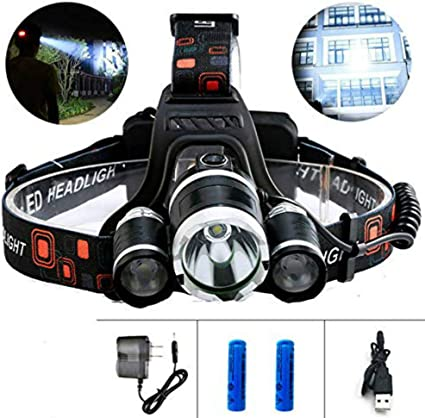 CREE 5000 Lumen Brightest Headlamp XM-L 3 x T6 LED Headlight 18650 Set w//Charger