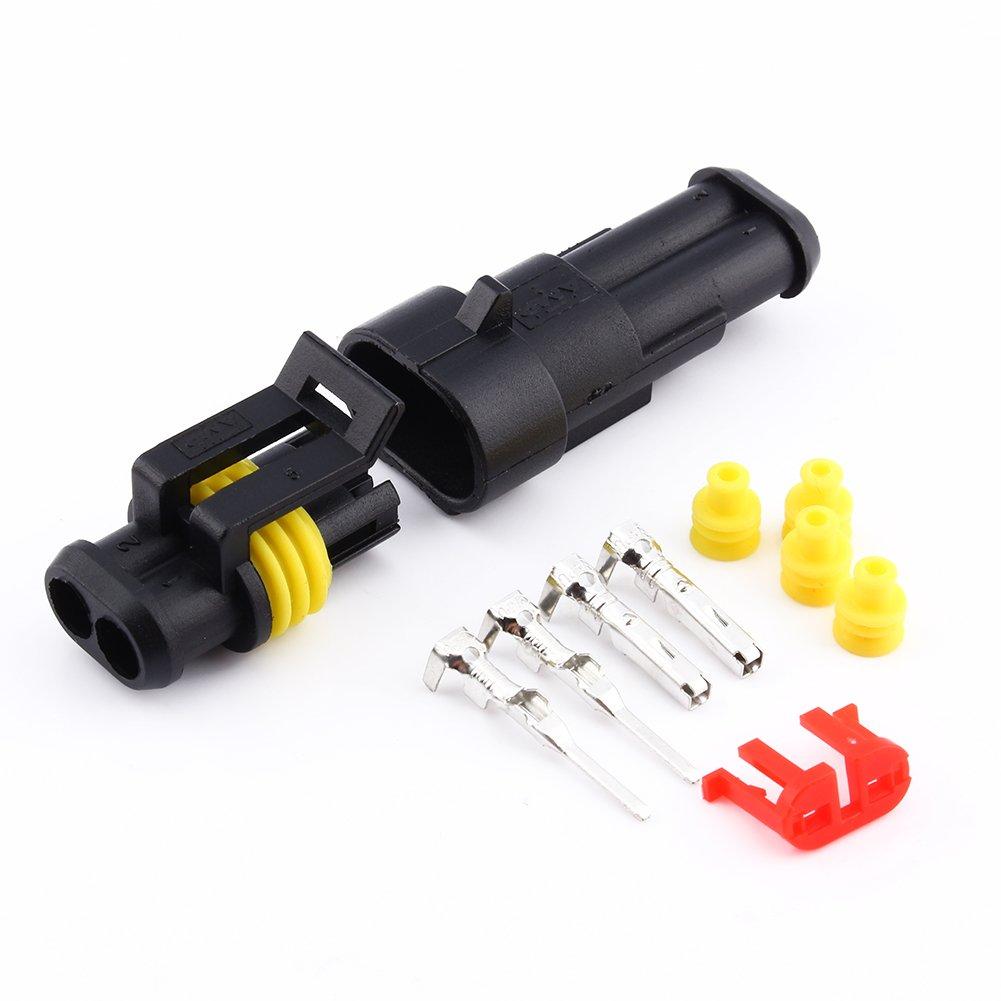 Kit de 2 Broches Plug Connecteur de Fil Étanche Électrique Prise 1.5mm Terminaux Bornes de Verrouillage pour Auto Moto Voiture Camion