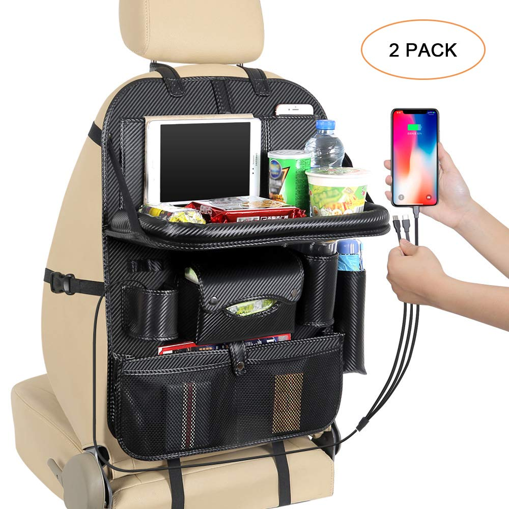 [2 Pack] FANSONG Multi-function Leather Car Backseat Organizer Holder with Foldable Table Tray Waterproof Pocket Storage Bag - Black