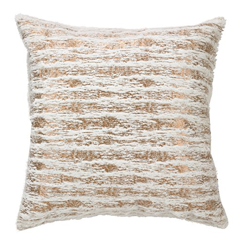 SARO LIFESTYLE Collection Faux Fur with Brushed Metallic Foil Print Pillow, 18