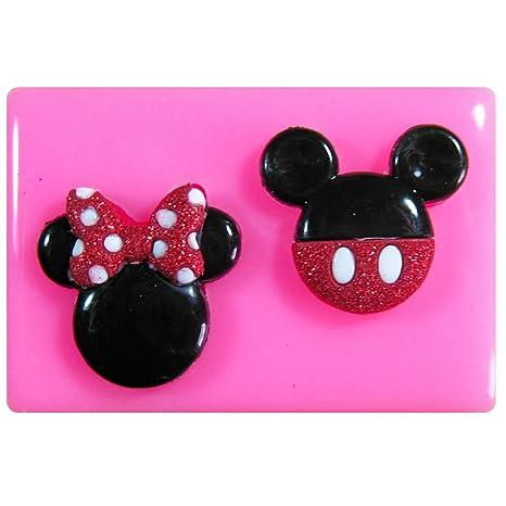 Mickey y la cara del ratón de Minnie Molde de silicona para la torta de Decoración