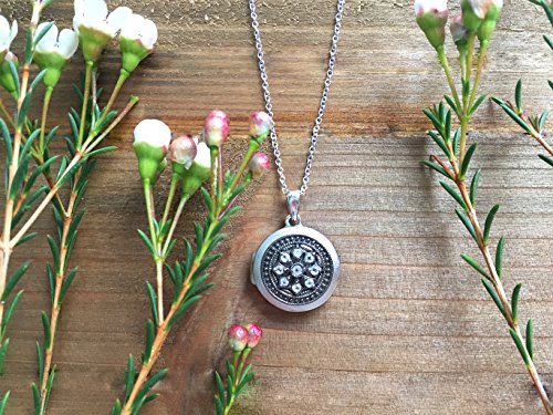 Oxidized-Sterling Silver-White Topaz-Custom Photo Locket Necklace-18inch chain-The Roxy by With You Lockets by With You Lockets (Image #5)