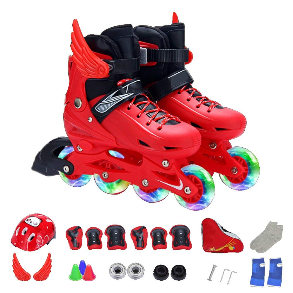 ZYH インラインスケートローラースケート子供フルセット男の子女の子初心者通気性ローラーブレード子供調節可能なフラッシュアイススケート Medium 赤 B07R9WX4FT
