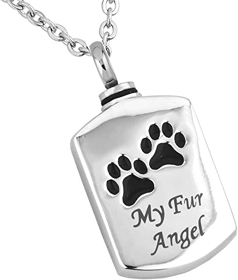 Dog Bone With Footprints Cremation Pendant Jewelry Urn Dogs Pets Cats