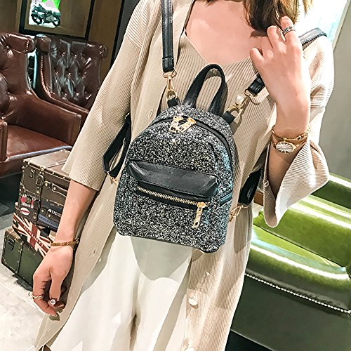 Kalaokei Shoulder Leather Backpack Faux Colorful Black Women Glitter Bags School Mini Sequins Students Bq8cgwBr6