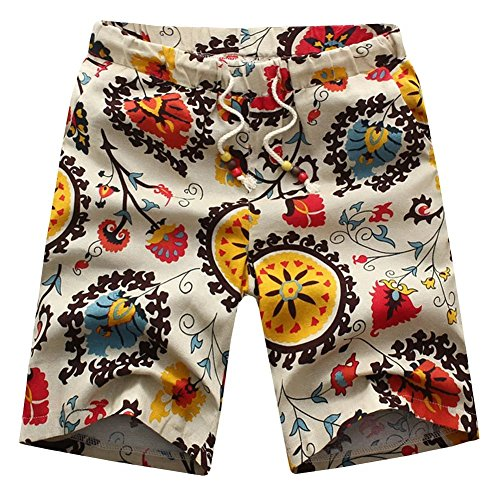 Billy Goat Cotton Shorts - Gxia Men's Retro Slim Floral Tether Shorts