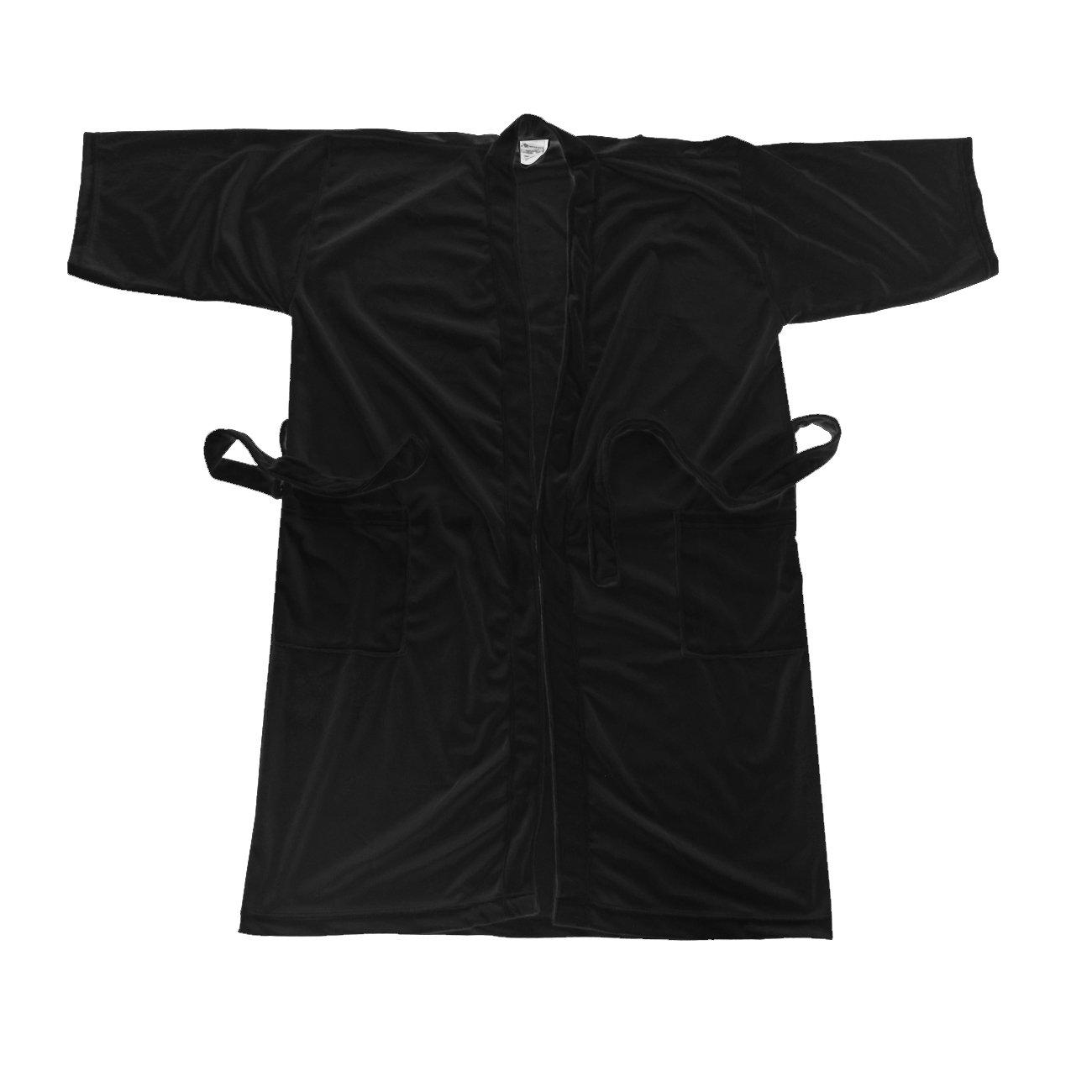 18c2278a33 Amazon.com: Canyon Rose Cloud 9 Men's Plush Microfiber Spa Robe, Black Sea,  M/L: Beauty