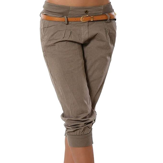 Juqilu Pantalones Capri para Mujeres 3/4 Harem Pantalones Moda Color Sólido Casual Shorts Deporte