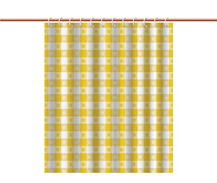 Shower Curtain Yellow And WhiteCheckered Motif With Little Spring Blooms Classic Country Picnic