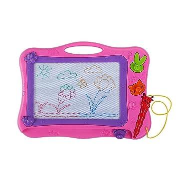 MIMINUO Juguetes educativos - Pizarra magnética colorido - Pizarras Mágicas con Pluma y Animal Sello Dibujo de Pintura para Niños 3 Años (Rosa)