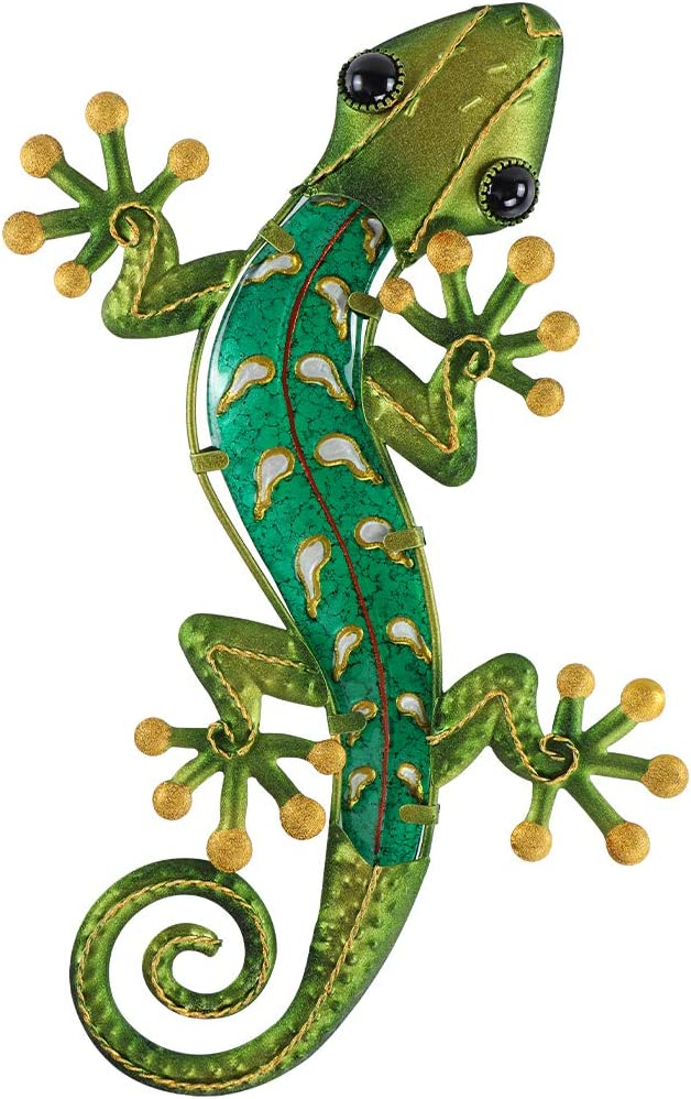 MDLUU Gecko Wall Decor 15 Inches, Metal Gecko Wall Art, Lizard Hanging Decor for Yard, Patio, Home (Green)