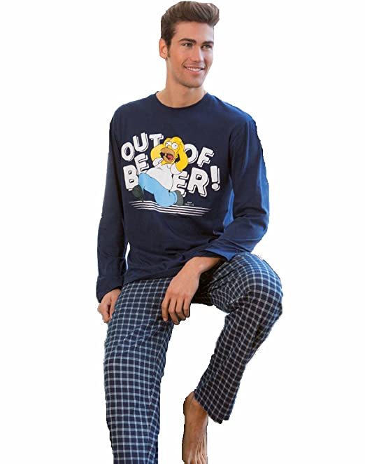 Pijama HOMER SIMPSON Hombre Manga Larga MARINO (S)